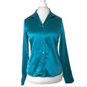 Lafayette 148 blue button down blouse size 6